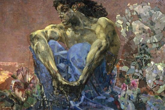 Demon Seated in a Garden, 1890-Mikhail Vrubel-Giclee Print