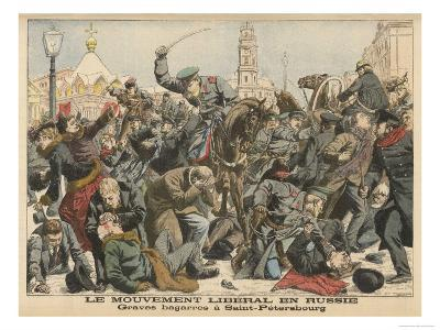 Demonstration by Liberals in St. Petersburg is Dealt with Savagely by the Police--Giclee Print