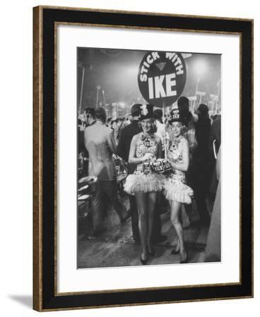 """Demonstrators on Republican Convention Floor, with Signs Reading """"Stick with Ike""""-Ed Clark-Framed Photographic Print"""