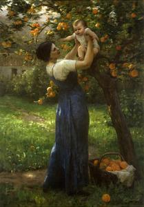 Mother and Child in an Orange Grove by Demont-Breton Virginie
