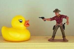 Duck Takes On Cowboy by Den Reader
