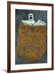Squashed and Split Aluminium Drinks Can with Rusty Sides Lying on Tarnished Metal Sheet by Den Reader
