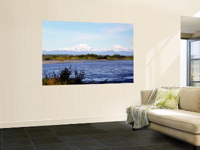 Denali Across the Susitna River at Talkeetna, Alaska, USA-Bernard Friel-Wall Mural