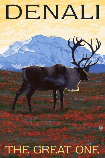Denali, Alaska - the Great One - Caribou-Lantern Press-Art Print
