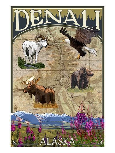 Denali, Alaska - Topographical Map-Lantern Press-Art Print
