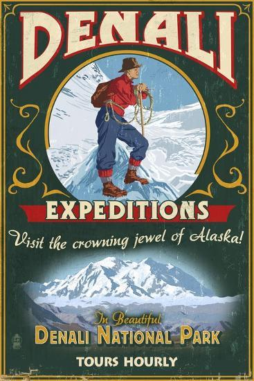 Denali National Park, Alaska - Denali Climbers Vintage Sign-Lantern Press-Art Print