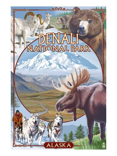 Denali National Park, Alaska - Park Views-Lantern Press-Art Print