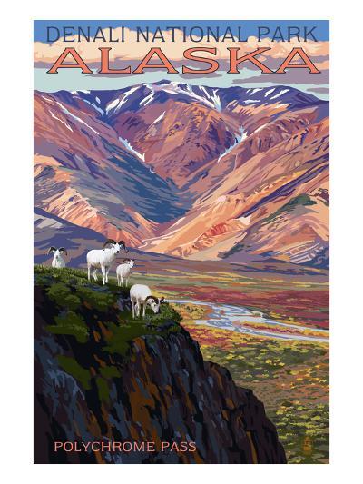 Denali National Park, Alaska - Polychrome Pass-Lantern Press-Art Print
