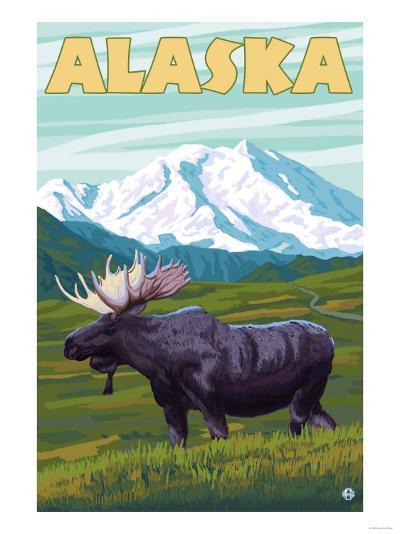 Denali National Park Moose and Mount McKinley-Lantern Press-Art Print