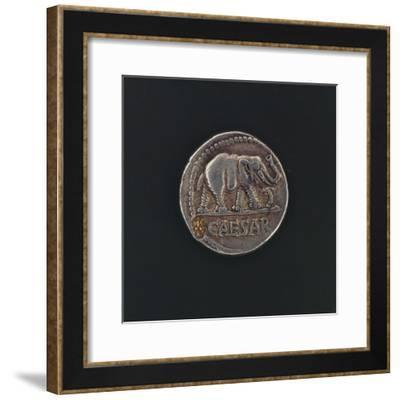 Denarius Issued by Caesar before Crossing Rubicon, Depicting Elephant, Symbol of Leader--Framed Giclee Print