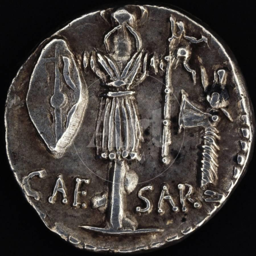Denarius Issued By Julius Caesar In Gaul Depicting Gallic Weapons