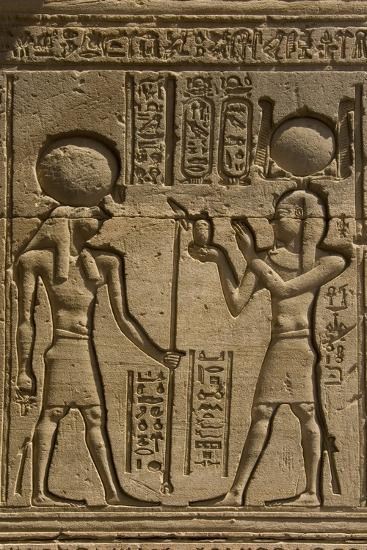 Dendera Necropolis, Qena, Nile Valley, Egypt; Carvings on the Outside Wall of the Temple of Hathor-Tony Waltham-Photographic Print
