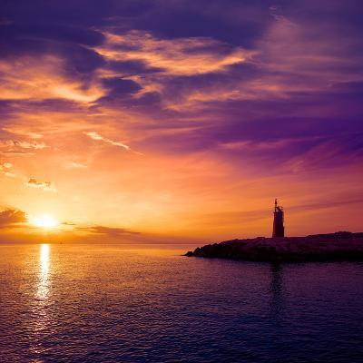 Denia Sunset Lighthouse at Dusk in Alicante at Spain-Natureworld-Photographic Print