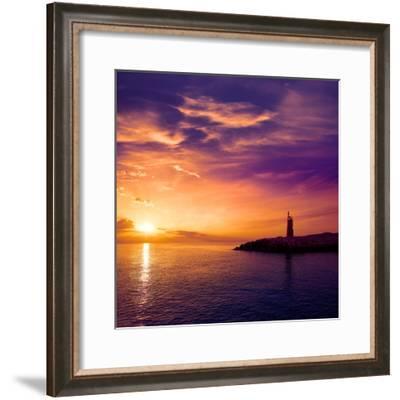 Denia Sunset Lighthouse at Dusk in Alicante at Spain-Natureworld-Framed Photographic Print