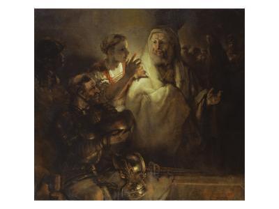 Denial of St. Peter-Rembrandt van Rijn-Giclee Print