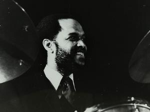 American Drummer Billy Higgins at the Bracknell Jazz Festival, Berkshire, 1983 by Denis Williams