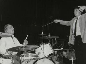 Buddy Rich and Conductor Andrew Litton, Royal Festival Hall, London, June 1985 by Denis Williams