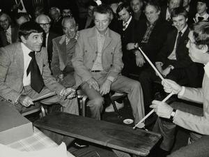 Louie Bellson and Buddy Rich at the International Drummers Association Meeting. London, 1978 by Denis Williams