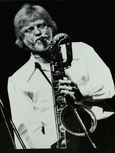 Saxophonist Gerry Mulligan Playing at At the Forum Theatre, Hatfield, Hertfordshire by Denis Williams
