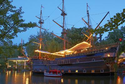 Denmark, Copenhagen, Amusement Park Tivoli, Sailing Ship, Historical, Replica, Illuminated, Evening-Chris Seba-Photographic Print