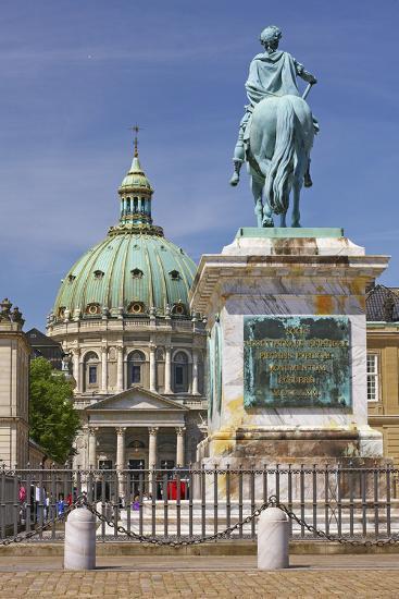 Denmark, Copenhagen, Frederik's Church, Equestrian Monument, Square, Amalienborg Castle-Chris Seba-Photographic Print