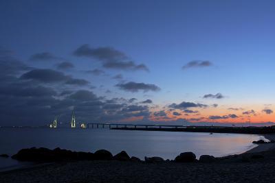 Denmark, Funen, Great Belt Bridge, Illuminated, Evening Mood-Chris Seba-Photographic Print
