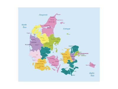 Denmark-Highly Detailed Map-ekler-Art Print