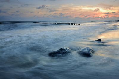 Denmark, Island M¡N, Klintholm Havn, Sunset, Beach, Groyne, Erratic Blocks-Andreas Vitting-Photographic Print