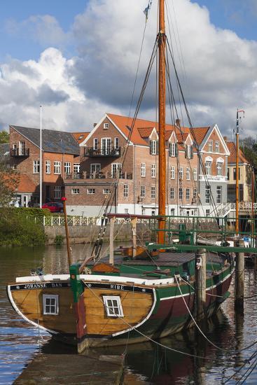Denmark, Jutland, Ribe, Town View with the Johanne Dan, Flat-Bottomed Sailing Ship-Walter Bibikow-Photographic Print