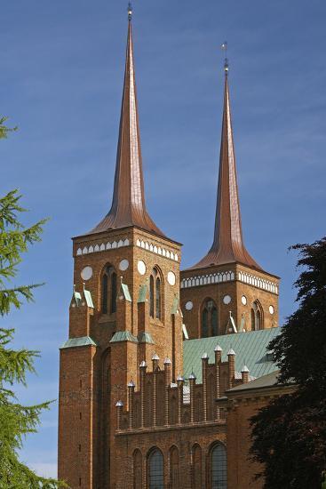 Denmark, Roskilde, Brick Building, Cathedral, Double Spire-Chris Seba-Photographic Print