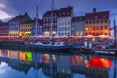 Denmark, Zealand, Copenhagen, Nyhavn Harbor, Evening-Walter Bibikow-Photographic Print
