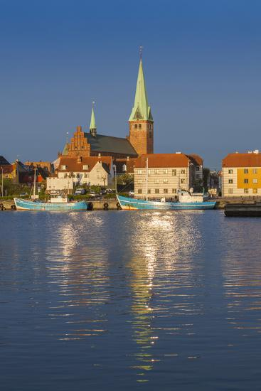 Denmark, Zealand, Helsingor, Town View and Sankt Olai Domkirke Church, Dawn-Walter Bibikow-Photographic Print