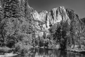 California, Yosemite NP. Yosemite Falls Reflects in the Merced River by Dennis Flaherty