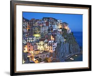 Dusk Falls on a Hillside Town Overlooking the Mediterranean Sea, Manarola, Cinque Terre, Italy by Dennis Flaherty