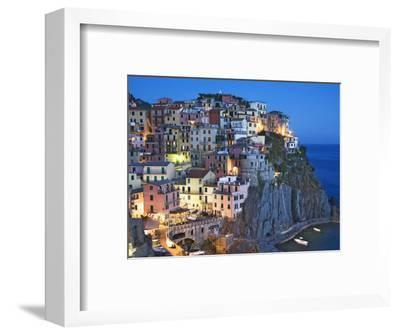 Dusk Falls on a Hillside Town Overlooking the Mediterranean Sea, Manarola, Cinque Terre, Italy