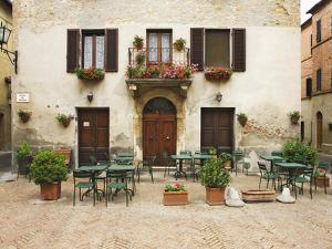 Early Morning Exterior of a Restaurant, Pienza, Italy by Dennis Flaherty