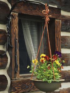 Flower Basket Outside Window of Log Cabin, Fort Boonesborough, Kentucky, USA by Dennis Flaherty