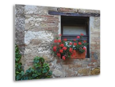 Flowers in a Window In a Tuscan Village, San Quirico d'Orcia, Italy