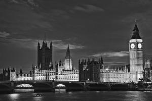 Great Britain, London. Dusk on Big Ben and the Houses of Parliament by Dennis Flaherty