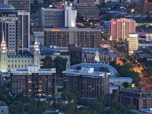 Late Afternoon Light on Mormon Temple Square, Salt Lake Temple and Tabernacle, Salt Lake City by Dennis Flaherty