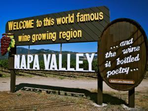 Sign at Entrance of Napa Valley, California by Dennis Flaherty