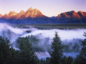 The Grand Tetons from the Snake River Overlook at Dawn, Grand Teton National Park, Wyoming, USA by Dennis Flaherty