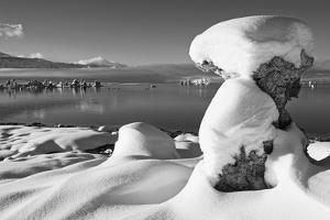 USA, California, Mono Lake. Snow-Covered Tufa by Dennis Flaherty