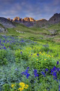 USA, Colorado. Sunrise in American Basin in the San Juan Mountains. by Dennis Flaherty