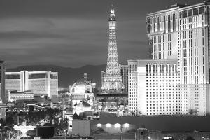 USA, Nevada, Las Vegas. City Buildings at Night by Dennis Flaherty
