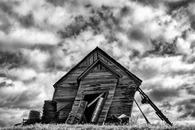 Washington. Abandoned Leaning Schoolhouse in Palouse Farm Country