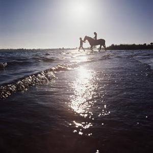 Silhouetted Couple on the Beach with Horse by Dennis Hallinan