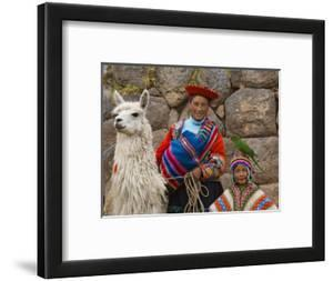 Woman with Llama, Boy, and Parrot, Sacsayhuaman Inca Ruins, Cusco, Peru by Dennis Kirkland
