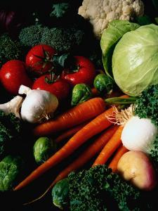 Carrots, Tomatoes, Lettuce, Garlic, and Broccoli by Dennis Lane