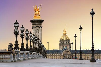 Beautiful Sunrise at the Pont Alexandre III and Les Invalides in Paris